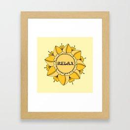 Relax Nouveau Golden Sun Mandala Framed Art Print