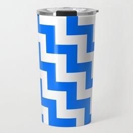 White and Brandeis Blue Steps LTR Travel Mug