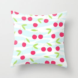 Seamless cherry pattern on striped Throw Pillow