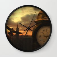clockwork Wall Clocks featuring Clockwork by Chase Matheson