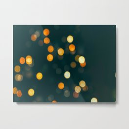 Bokeh Blurred Lights Shimmer Shiny Dots Spots Circles Out Of Focus Metal Print