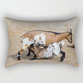 Goat feeds her goatlings, outdoor shooting in good weather Rectangular Pillow