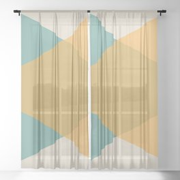 Mid Century - Yellow and Blue Sheer Curtain