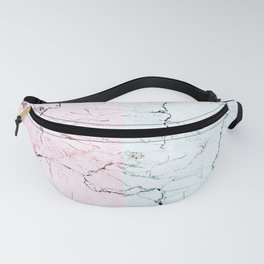 pastel pink and blue stone cracked marble Fanny Pack
