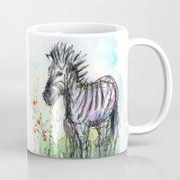 zebra Mugs featuring Zebra by Olechka