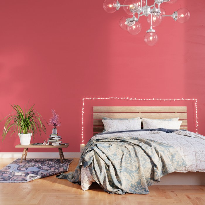 Coral Red Solid Color Block Wallpaper