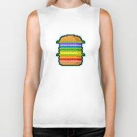 hamburger Biker Tanks featuring Pixel Hamburger by Sombras Blancas Art & Design