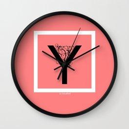 pink Y Wall Clock