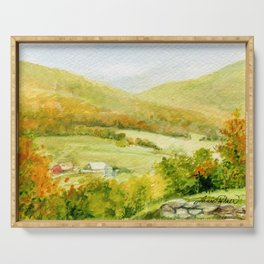 Autumn Fall on a Vermont Town Serving Tray