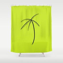 Palm Tree Illustration Neon Green Shower Curtain