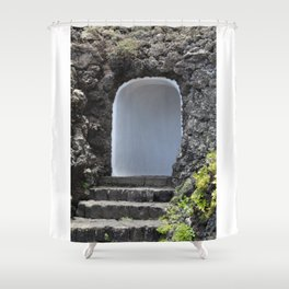 White entrance with staircase in lava building Shower Curtain