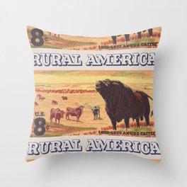 Rural America cattles herd vintage US post stamp Throw Pillow