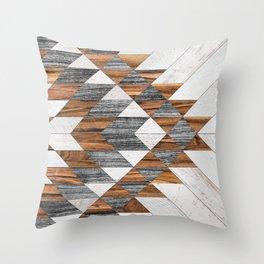 Urban Tribal Pattern 12 - Aztec - Wood Throw Pillow
