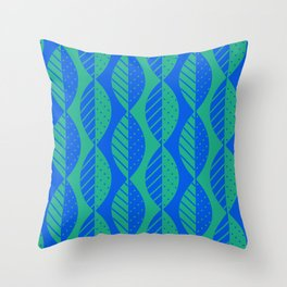 Mod Leaves in Bright Blue and Green Throw Pillow