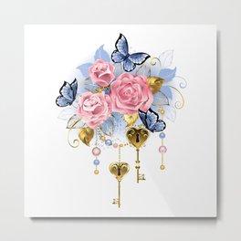 Pink Roses with Keys Metal Print