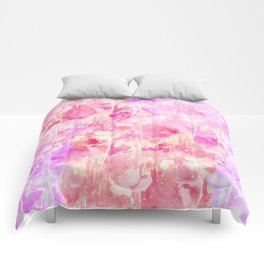 Girly Pink and Purple Painted Sparkly Watercolor Comforters