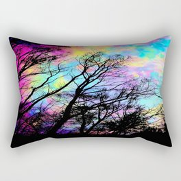 Black Trees Colorful space. Rectangular Pillow