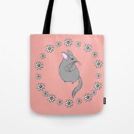 Daisy Chinchilla Flower Crown Border Tote Bag