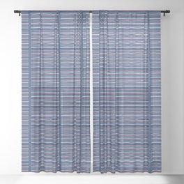 Hand drawn textured maritime stripes Sheer Curtain