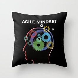 Scrum Master Head Agile Mindset Throw Pillow