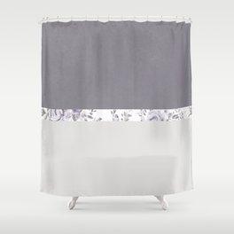 Mauve Gray Floral stripe pattern Shower Curtain