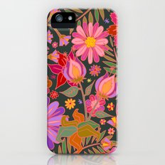 Flowers on Green Slim Case iPhone (5, 5s)