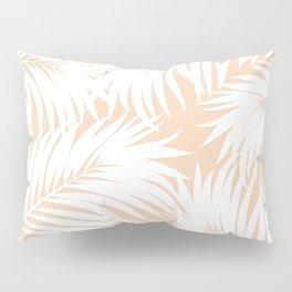 Palm Tree Fronds White on Peach Hawaii Tropical Décor Pillow Sham