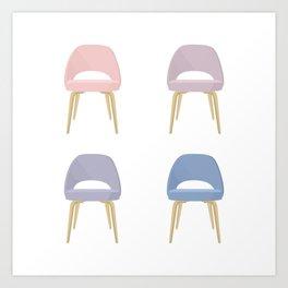 Saarinen Chair in Rose Quartz & Serenity Art Print