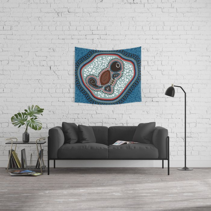 Aboriginal Water Turtle Wall Tapestry