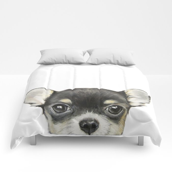 Chihuahua mix color Dog illustration original painting print Comforters