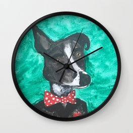 Dog with Bowtie Wall Clock