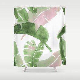 Tropical Leaves Green And Pink Shower Curtain