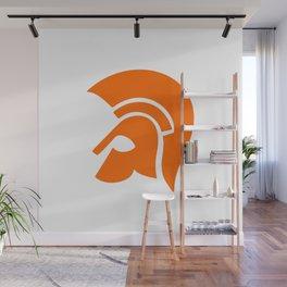 Ancient Spartan Soldier Helmet Red Orange Wall Mural