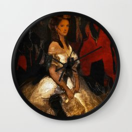 Lady and the Shreds of the past Wall Clock