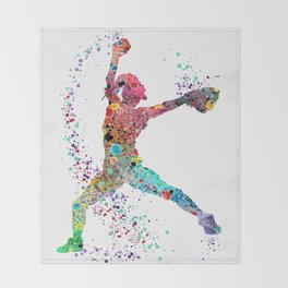 Baseball Softball Pitcher Watercolor Print Art Print Girl's Softball Painting Throw Blanket