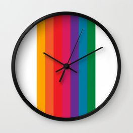 Retro Bright Rainbow - Straight Wall Clock