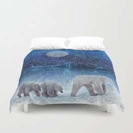 Arctic Journey of Polar Bears Duvet Cover
