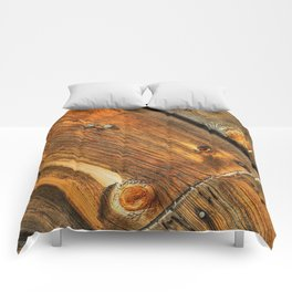 Wood Grain Pattern on Weathered Wooden Boards Comforters