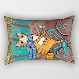 Autumn Fat Cat Bicycle Ride Rectangular Pillow