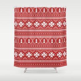 Fair Isle christmas pattern snowflakes camping winter trees christmas tree minimal Shower Curtain