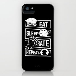 Eat Sleep Karate Repeat - Martial Arts Defence iPhone Case