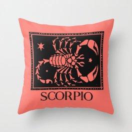Scorpio Vintage Zodiac on Living Coral Throw Pillow