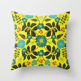 Bright Yellow, Red, Turquoise & Navy Blue Floral Pattern Throw Pillow