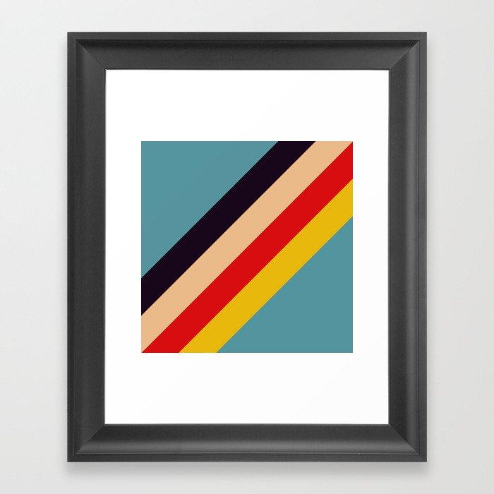Rindr - Classic Minimal Retro Summer Style Stripes Gerahmter Kunstdruck
