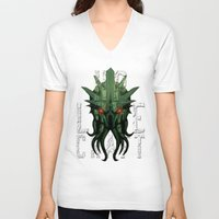 lovecraft V-neck T-shirts featuring H.P. Lovecraft by MikeRush