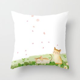 Funny Cats Singing under Cherry Blossoms Throw Pillow