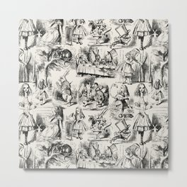 Alice in Wonderland | Toile de Jouy | Black and Beige Metal Print