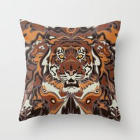 tigers Throw Pillows featuring Tigers by Darish
