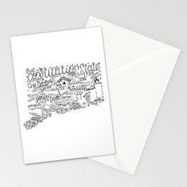 Connecticut - Hand Lettered Map Stationery Cards