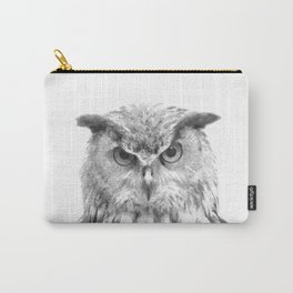 Black and white owl animal portrait Carry-All Pouch